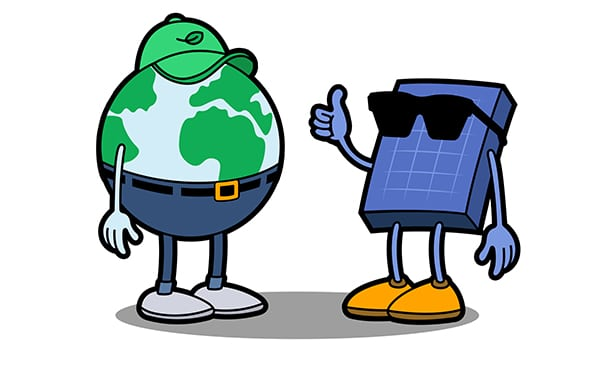 Earth and Solar Panel