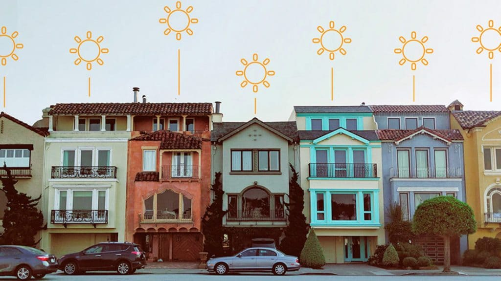 Townhouses with sun